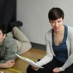Leslie and Luke LaRocque in rehearsal for Honest Aesop's Fables.