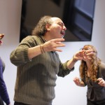 Leslie, with Teodoro Dragonieri and Hayley Carr in rehearsal for Honest Aesop's Fables.