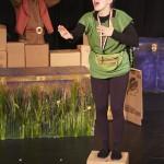 Leslie as Tortoise, with Luke LaRocque in Honest Aesop's Fables. Photo by Chris Nefs.